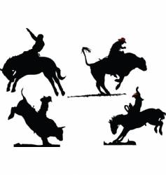 rodeo silhouettes vector image vector image