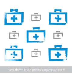 Set of brush drawing simple blue first aid kit vector image