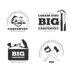 Carpentry workshop labels logos badges vector image