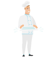 chef cook holding a contract vector image