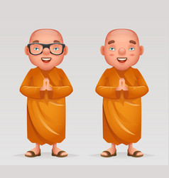 cute buddhist monk traditional asian buddhism vector image