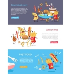 Fast Food Cartoon Characters Banner Set vector image