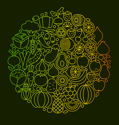 fruit vegetable line icons design vector image