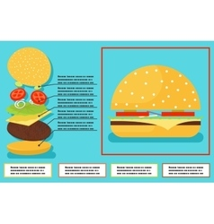 Sandwich burger hamburger ingredients structure vector image vector image