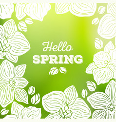 spring card with orchid flowers and blurred vector image