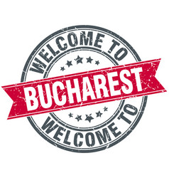 Welcome to bucharest red round vintage stamp vector