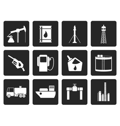 Black Oil and petrol industry icons vector image vector image