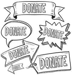 doodle label tag banner donate vector image
