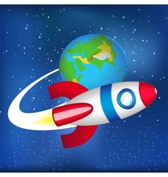 flying spaceship in space vector image vector image