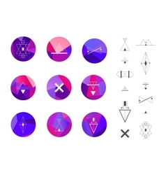Set of colored crystal circles in polygon style vector image
