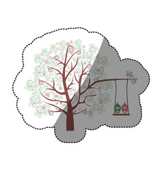 Color background sticker of tree with leaves and vector