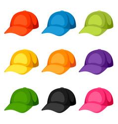 colored baseball caps templates set of vector image