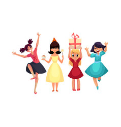 four various girls in colorful dresses having fun vector image
