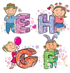 Funny alphabet with kids EFGH vector image vector image