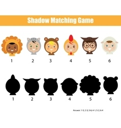 Shadow matching game vector image