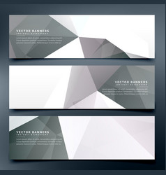 Abstract low poly header banners set background vector