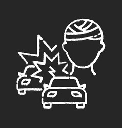 acquired brain injury chalk white icon on black vector image