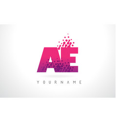 Ae a d letter logo with pink purple color and vector