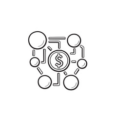 affiliate marketing network hand drawn outline vector image