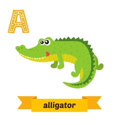 Alligator A letter Cute children animal alphabet vector