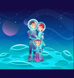 astronauts family flat vector image