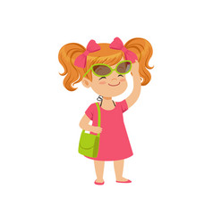 Beautiful little girl wearing pink dress and vector