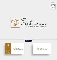 Beauty cosmetic line art logo template icon vector