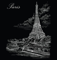 black hand drawing paris 3 vector image