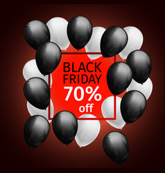 black white balloons black friday 70 percent off vector image