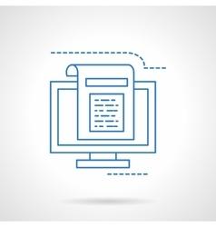 Blogging flat blue line icon vector