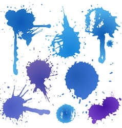 Blue ink blot collection isolated on white vector