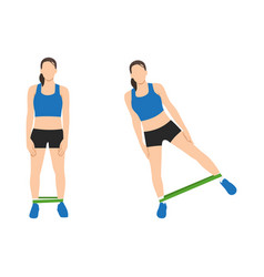 Booty or glutes workout with resistance bands vector