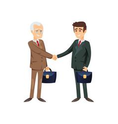 Businessmen shaking hands in agreement vector