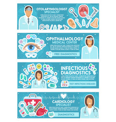 Cardiology ent and infectious medicine banner vector