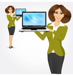 Career woman holding laptop vector