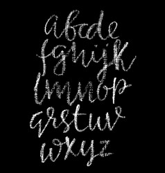Chalk lower case font grunge script on chalkboard vector