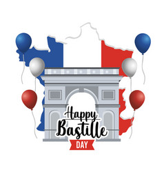 Champs elyses with balloons and france map vector