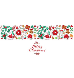Christmas border design for greeting card vector