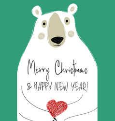 Christmas greeting card with funny bear vector