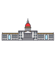 city hall line icon concept city hall flat vector image