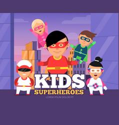 city kids heroes urban landscape with children vector image