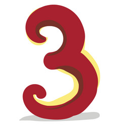 Clipart numerical number three or 3 in red vector