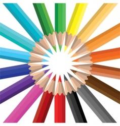 Color pencils circle vector