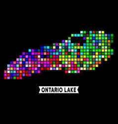 Colored pixel ontario lake map vector