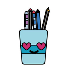 Colorful tools cup in love kawaii cartoon vector