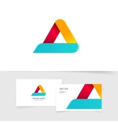 Colorful triangle logo with rounded corners vector image