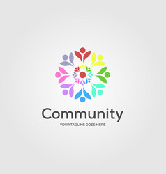 community charity people flower colorful logo vector image