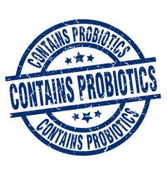 Contains probiotics blue round grunge stamp vector