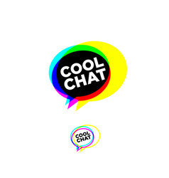 cool chat stereo logo chat emblem vector image