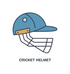 Cricket line icon Helmet logo equipment vector image